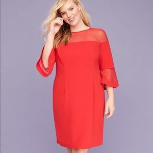Lane Bryant Red Midi Dress 16 NWT